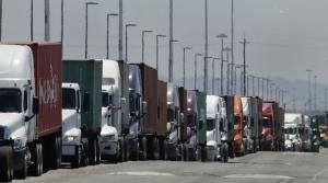 A line of semi trucks