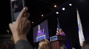Elizabeth Warren being videotaped speaking