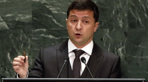 Ukraine president Zelenskiy speaking at the United Nations General Assembly