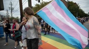 Marchers in LGBTQ pride parade