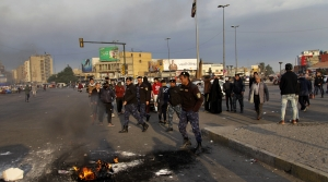 Protestors in the streets of Baghdad, Iran