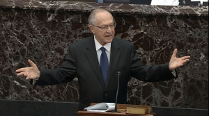 Alan Dershowitz speaks during Senate impeachment trial