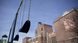 Empty swings at a school