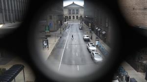 Man walks in an empty street