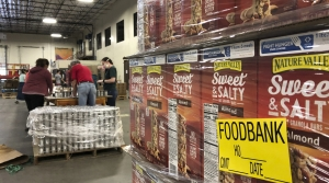 Pallet of food at food bank