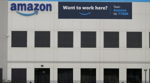 A newly constructed Amazon fulfillment facility is shown in Dallas