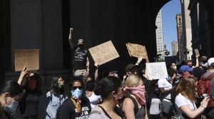 People protest in New York City