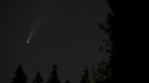 Comet NEOWISE seen in the night sky