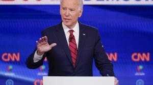 Former Vice President Joe Biden participates in a Democratic presidential primary debate.