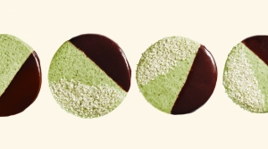 Black white and green cookie