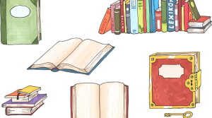 Illustrated images of books stacked, open, etc.