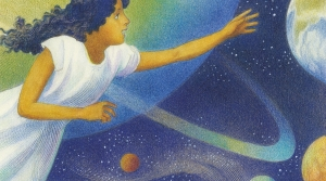 Book cover includes a girl and drawings of space