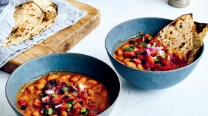 Lalo's Cacahuate Beans with Pico de Gallo