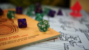20-sideddice are used in Dungeons and Dragons to determine the success or failure of an action.