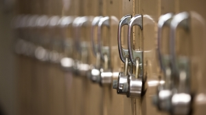 Lockers at a high school.