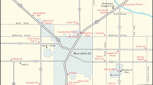 Map of taverns closed/open in Marshfield, Wis.