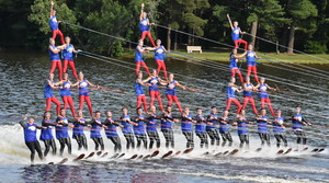 """The Twin Lakes Aquanuts perform a pyramid formation in their show """"Ski Jam"""" at the 2021 State Water Ski Championships."""