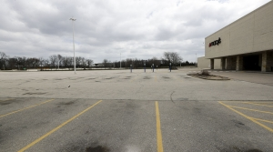 An empty parking lot outside of Macy's in Wauwatosa.