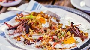 Real Deal Holyfield Brisket Breakfast Tacos with Gangsta Salsa