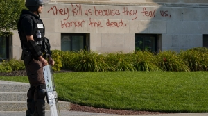 Officer stands outside Kenosha County Court House