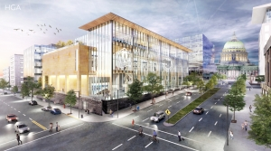 A rendering of a proposed Wisconsin Historical Society Museum