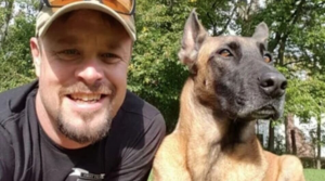 Founder of Dogs2DogTags with rescue dog