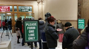 Taxpayers line up outside treasurer's office in City Hall in Milwaukee
