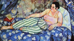 A painting depicts a woman lying on the bed with a background of blue.