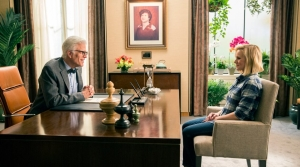 Left, Ted Danson as Michael and right, Kristen Bell as Eleanor