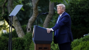 President Donald Trump speaks in the Rose Garden of the White House, Monday, June 1, 2020, in Washington.