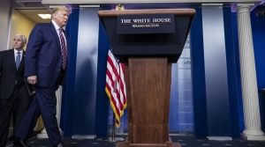 President Trump walks into White House briefing room