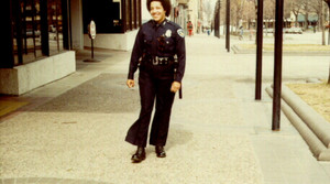 Madison Police Officer Pia Kinney James patrolling in 1975