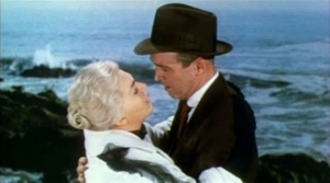 "Kim Novak and James Stewart in a screenshot from original movie trailer for Alfred Hitchcock's ""Vertigo"""