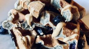 blue corn waffles blueberries