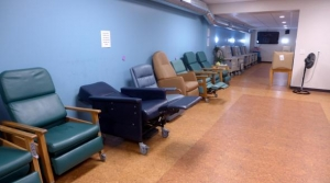 Recliners line the sleeping area of downtown La Crosse's Warming Center in 2015