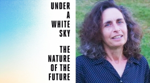 """Author Elizabeth Kolbert and the cover of her new book """"Under a White Sky: The Nature of the Future."""""""