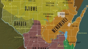 A map of the area we now call Wisconsin shows the tribal nations by location.