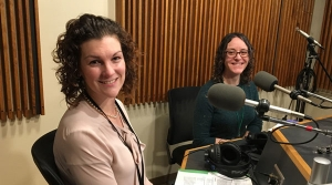 Photo of Marie Pauls  and Laura Medisky in WPR Studios