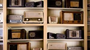 Old radios on a shelf