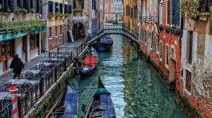 image of gondola in canal in venice italy
