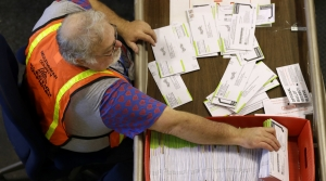 Person counting ballots