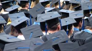a sea of graduation caps