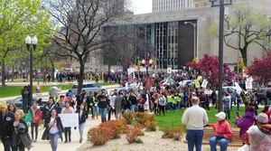 Protesters outside Milwaukee County Courthouse
