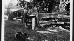 Aldo Leopold at the Shack with his dog, Flick