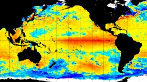 Warm sea surface temperatures on December 21 in the eastern tropics of the Pacific Ocean indicate a major El Niño.