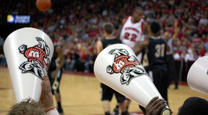 Fans cheer at Badgers Basketball Game