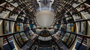 A fisheye lense view of bookshelves