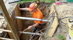 A lead-service water utility pipe in Madison is replaced circa 2000.