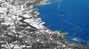 An aerial photo of downtown Milwaukee and its lakefront.