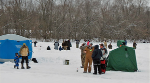 Ice fishers gather at the Upper Mississippi River National Wildlife and Fish Refuge.